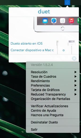Duet App ajustes