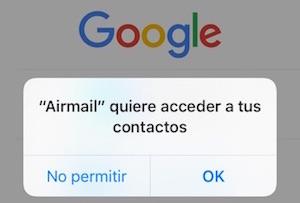 Airmail para iPhone acceso a contactos