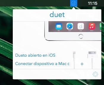 Icono de Duet app en la barra de menú