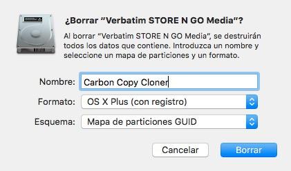 Utilidad de discos para formatear disco de copia de seguridad