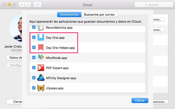 Copia de seguridad de Day One en Mac