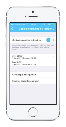 Copia de seguridad Backup en Day One para iOS