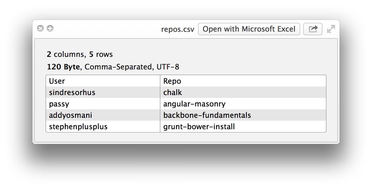 Ver CSV en vista rápida de Mac