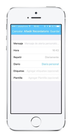 Recordatorios en iOS de Day One