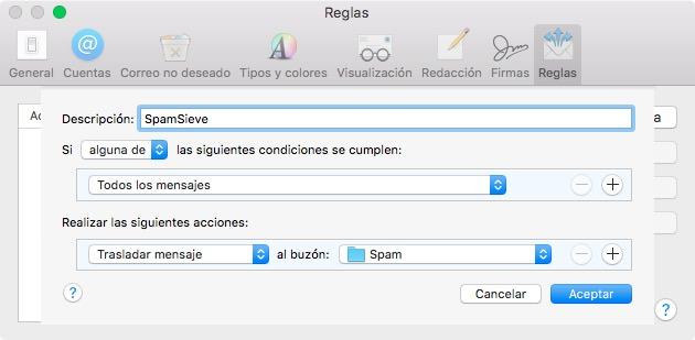 Nueva regla para SpamSieve en Mail app