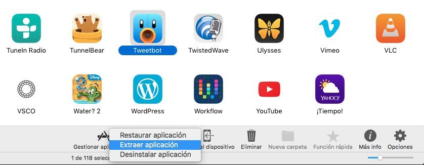 Extraer datos de aplicación en iMazing