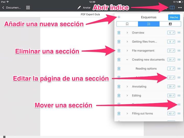 Cómo editar esquemas o índices de contenido en PDF Expert 6 para iOS