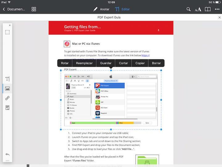 Edición de imágenes en PDF Expert 6 para iOS