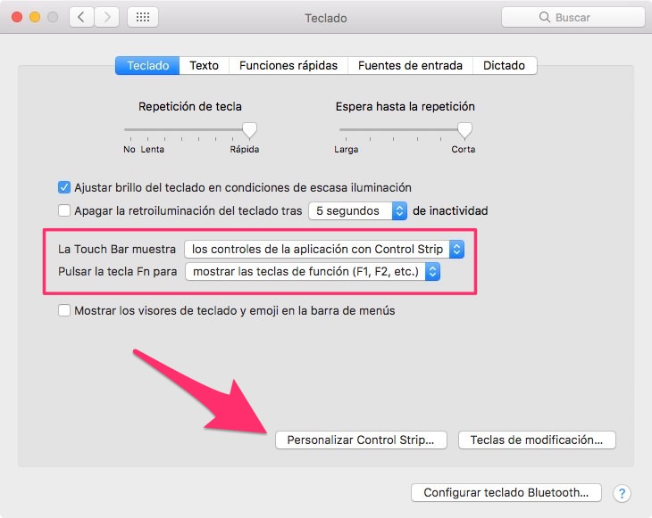 Control Stripe para personalizar al Touch Bar en Macbook Pro