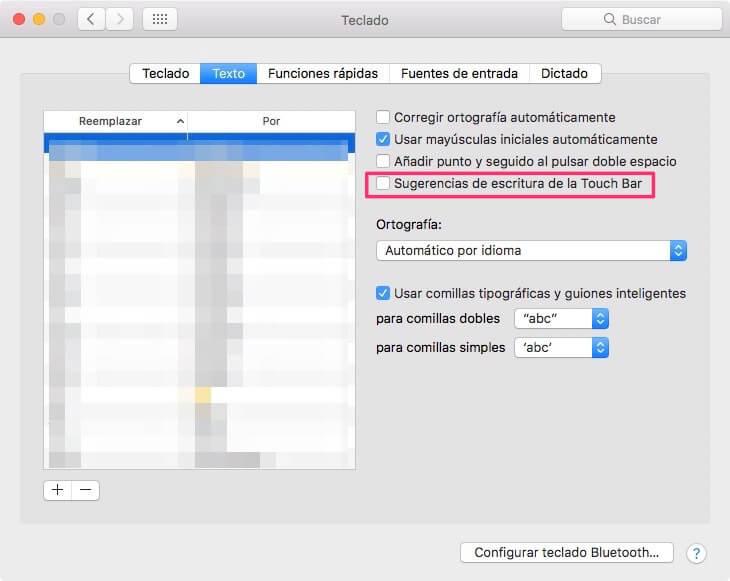 Cómo desactivar sugerencias de escritura en la Touch Bar