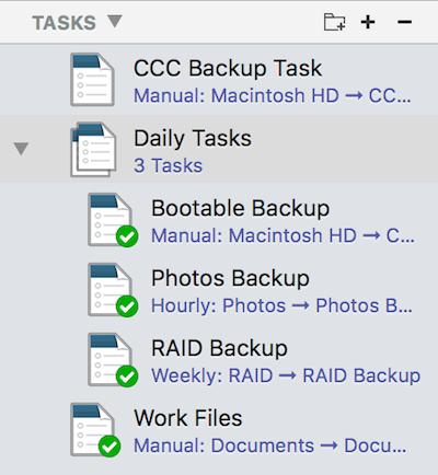 Agrupación de tareas en Carbon Copy Cloner 5