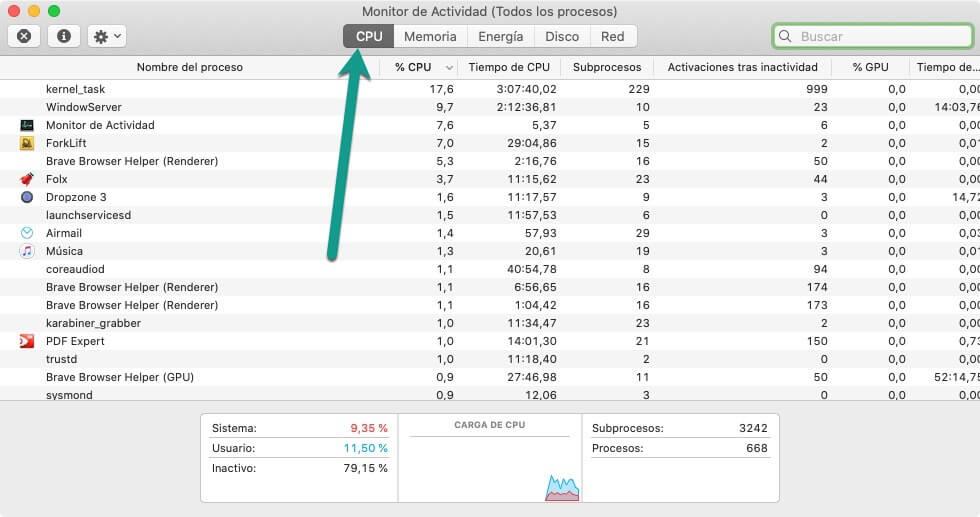 Monitor de actividad en pestaña CPU