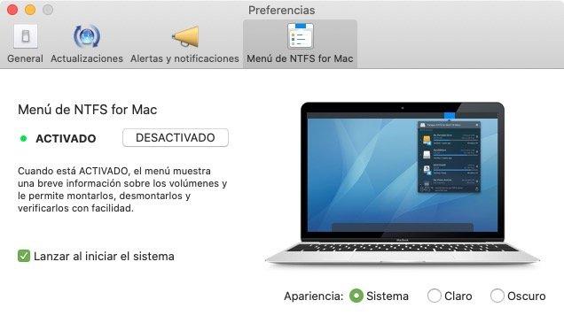 NTFS for Mac en la barra de menu