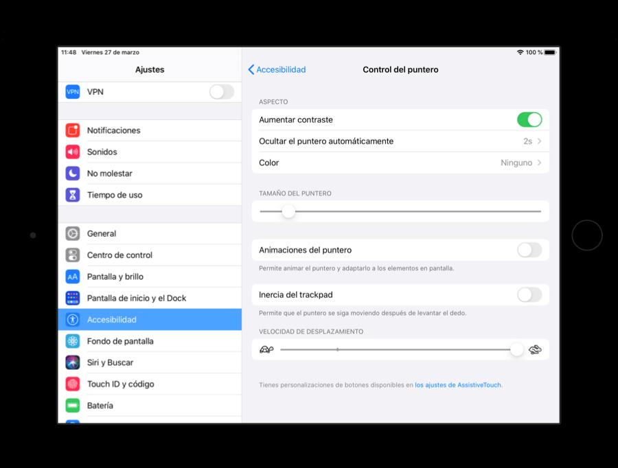 Control de puntero en iOS