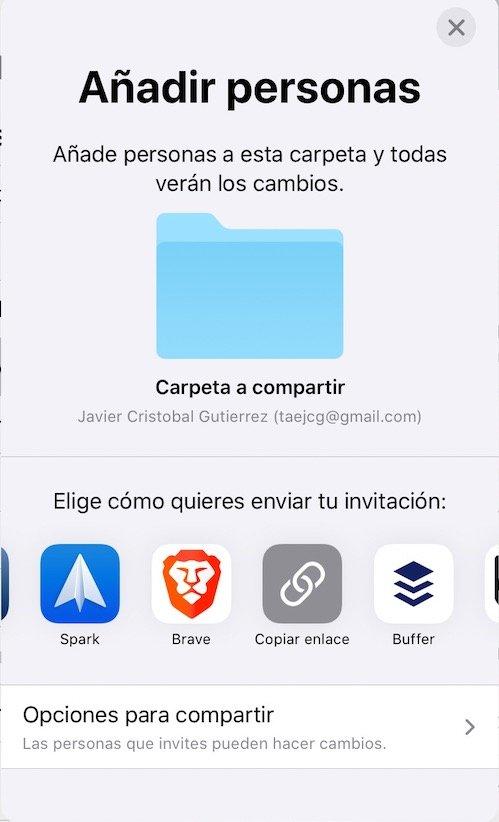Menu anadir personas a iCloud desde iPados