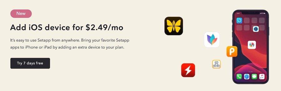 Setapp en iOS iPad y iPhone