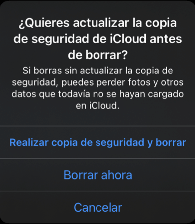 Copia de seguridad antes de restaurar iPhone