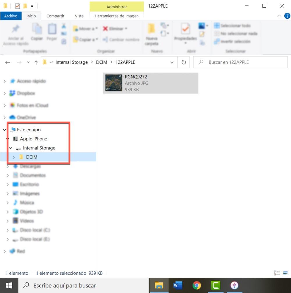 Pasar fotos de iPhone a PC con Windows a traves de dispositivo conectado