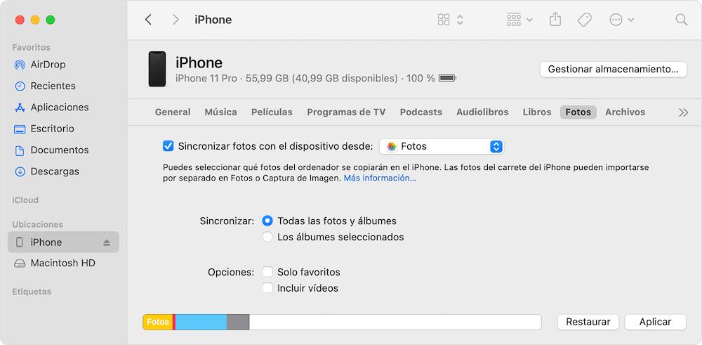 Sincronizacion de Fotos iPhone Mac via Finder