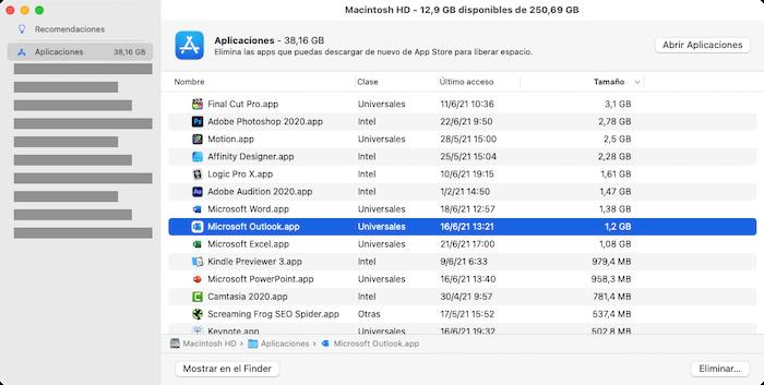 Eliminar aplicaciones desde gestor mac