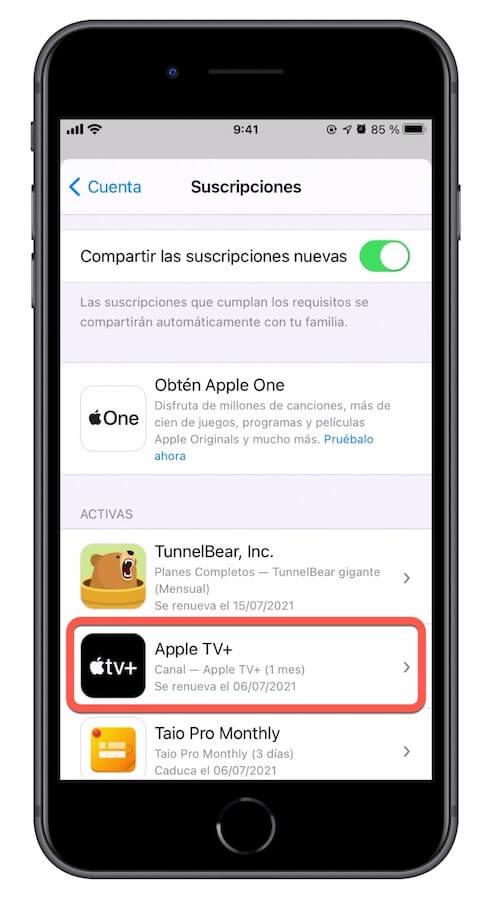 Suscripcion apple tv activa en iPhone