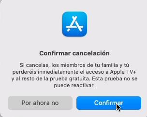 confirmar cancelacion apple tv
